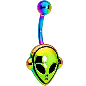 Body Candy 14G Womens Rainbow PVD Steel Navel Ring Piercing Alien Belly Button Ring 3/8""