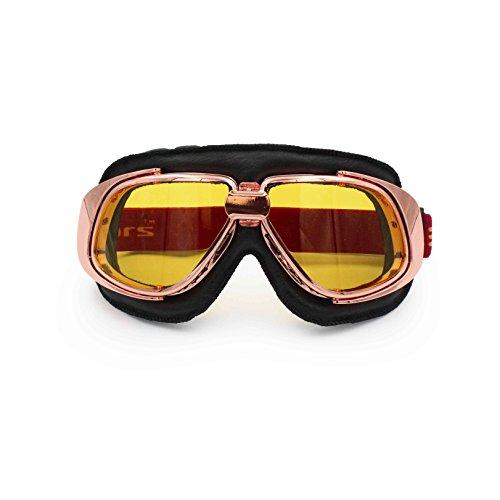Ediors Sports Vintage Aviator Pilot Style Leather Motorcycle Cruiser Scooter Goggle | Helmet Compatible, Extra Long Adjustable Strap (Rose Gold Frame, Black Padding, Amber - Rose Eyewear Amber