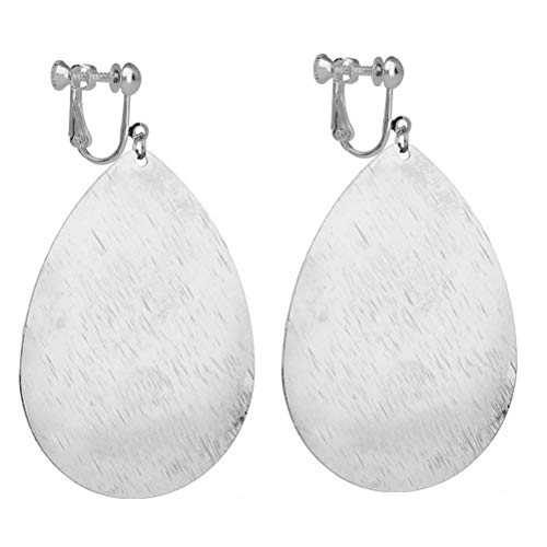 Fishhook Teardrop Clip on Earrings with Brushed Finished Dangle Large Drop Light Weight Women Silver-tone