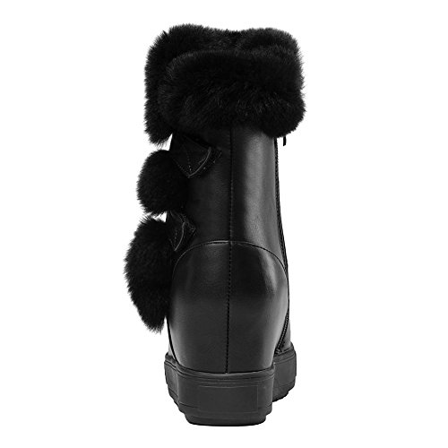 Boots Mid DecoStain Snow Fashion Heel Women's Leather Ankle PU Black 1fcZq8np