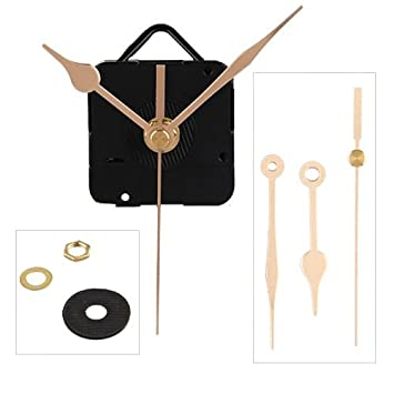 Quartz Wall Clock Movement Mechanism DIY Repair Part Spindle Long Hands Gold UK