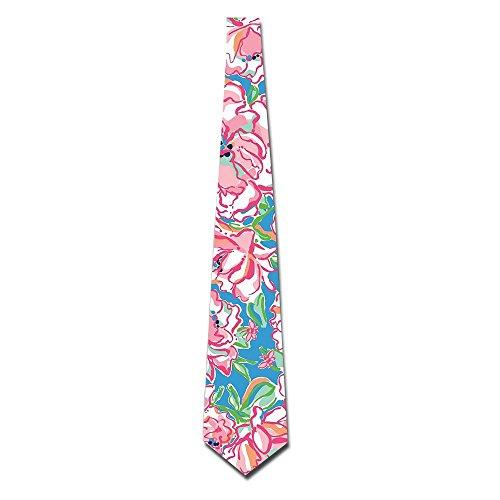 NICOLE Pink Flower Eco-friendly Men's Imported Tie Necktie Neckwear Neckcloth Choker Neck Tie 8CM