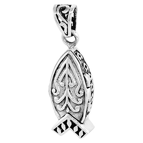Sterling Silver Prayer Box Pendant Christian Fish Ichthus Motif, 7/8 inch (Motif Wax Seal)