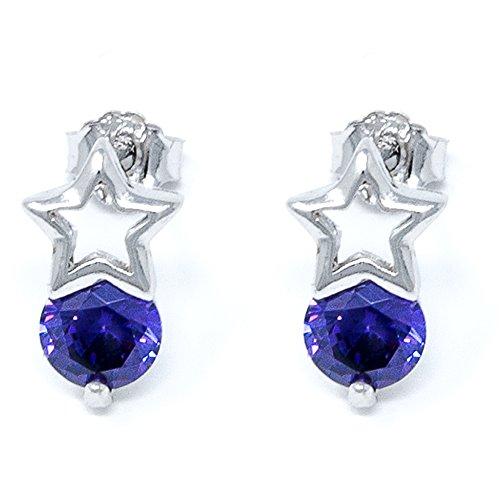 I's Fashion Jewelry 925 Sterling Silver Stud Earrings Birthstone with Stars Cubic Zirconia for Women and Girls (Ancient Greek Outfits)