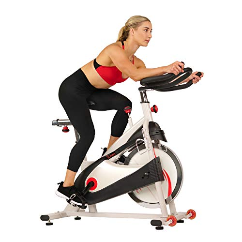 Sunny Health & Fitness SF-B1509 Belt Drive Premium Indoor Cycling Exercise Bike, White ()