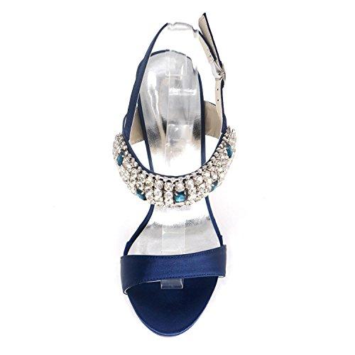 L@YC Frauen Hochzeit High Heel D7216-10 Offene Toe Strass Party Schuhe Blue