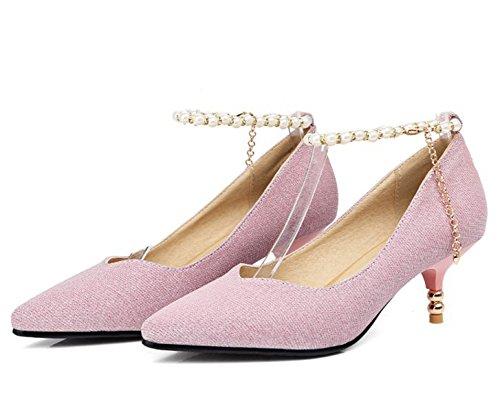 Easemax Womens Elegant Glitter Ankle Buckle Strap Beaded Chains Mid Kitten Heel Pumps Shoes Pink YTvnk