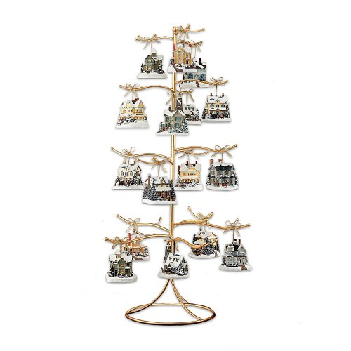amazoncom gold wire ornament tree display by the bradford exchange home kitchen - Metal Christmas Tree Ornament Display