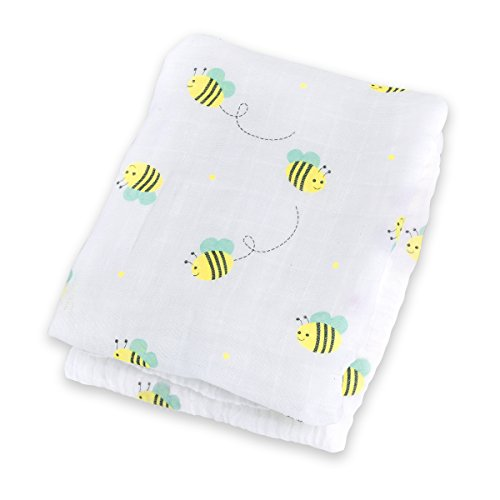 Lulujo Baby Muslin Cotton Swaddling Blanket, Bumbling Bee, 47