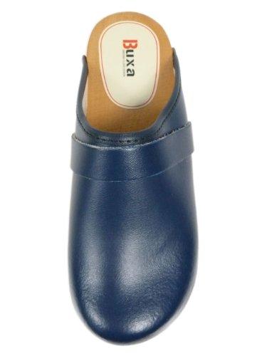 Zuecos de Cuero Unisexo con suela de Madera. Azul Azul Denim