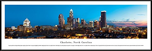 (Charlotte, North Carolina - Blakeway Panoramas Skyline Posters with Standard Frame)