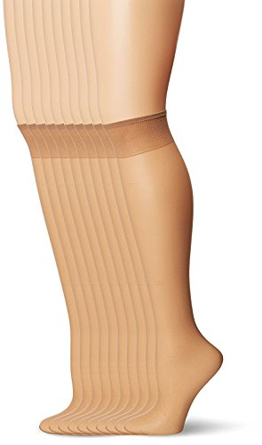 Nylon Socks Knee Sheer High - L'eggs Women's Everyday Knee Highs , Nude, One Size, 10 Pair