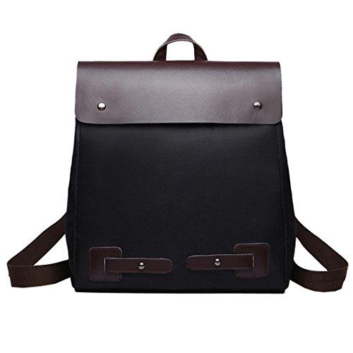 Anxinke Women Girls Vintage Canvas Packsack Backpack Bag Rucksack (Black) by Anxinke