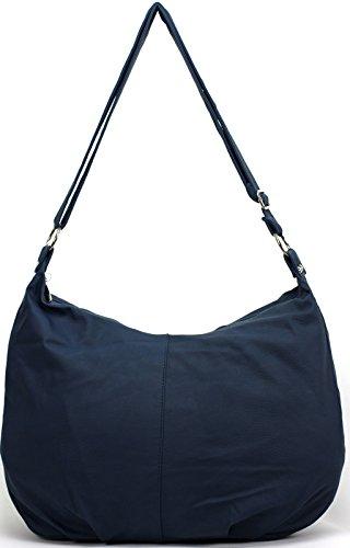 Gianni - Bolso de tela de cuero sintético para mujer Länge 45 cm Höhe 31 cm Breite/Tiefe:14 cm azul oscuro