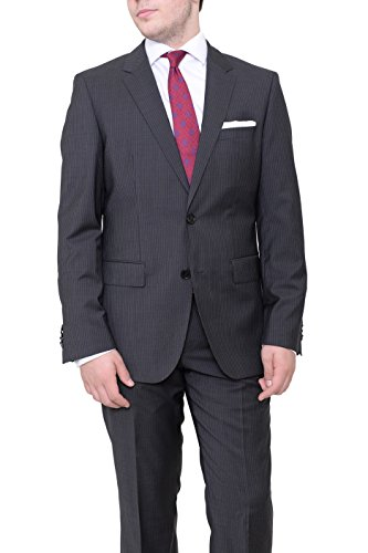 Super 120 Wool Suit (Hugo Boss The James4/sharp6 Black Pinstriped Two Button Super 120's Wool Suit)