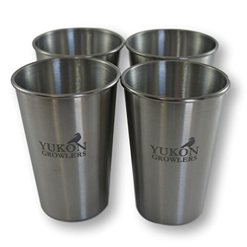 Yukon Growlers Stainless Steel Pint Glasses - Set of 4-16 oz True Pints - Food Grade 304 Stainless Tumblers for Camping, Picnics and Home Use - Durable, Stackable and Dishwasher Safe Metal Cups ()