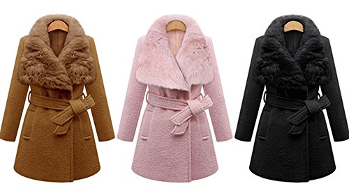 Bestfort Mantel Damen Elegant Wollmantel Warm Gefüttert Revers Lange Ärmel Wintermantel Übergangsmantel mit Gürtel Herbst Winter Pink OztssVgpeT