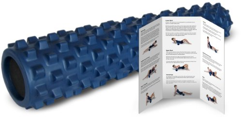RumbleRoller Full Size Original Blue - Textured Muscle Foam Roller Manipulates Soft Tissue Like A Massage Therapist - 31 Inches