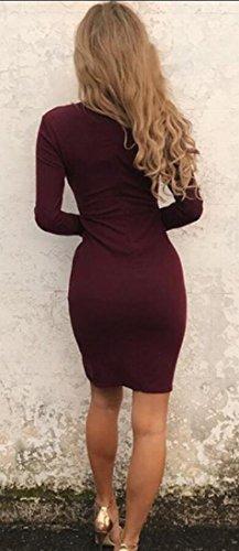 Vestito Matita Girocollo Delle Vino Rosso Mini Jaycargogo Scollo Donne V A Lunga Profondo Manica Dalla Bodycon xx6PzI