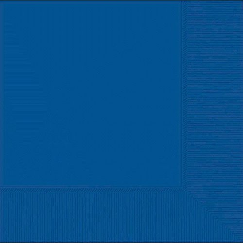 """New Amscan Durable Plain 3-Ply Beverage Napkins Party Tableware, Bright Royal Blue, Paper, 5"""" x 5"""", Pack of 50 free shipping"""