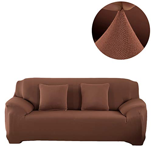ANJUREN Sofa Couch Slipcover 1 Piece 3 Seater Cushion Sofa Couch Cover Replacement Polyester Spandex Stretch Sofa Furniture Slip Cover Protector (Sofa, Light Coffee)