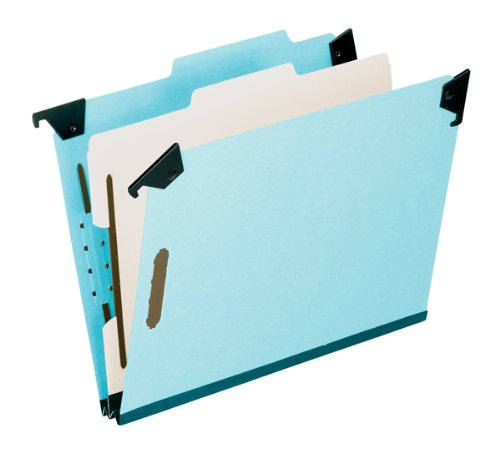 Pendaflex 59251 Pressboard Hanging Classi-Folder, 1 Divider/4-Sections, Letter, 2/5 Tab, Blue - Esselte Recycled Hanging Classification Folder