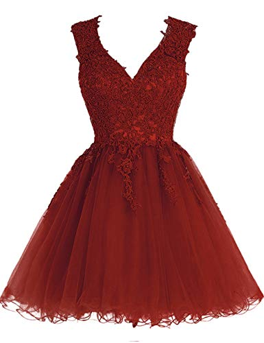 Homecoming Dress Short Cocktail Dress Lace Homecoming Dresses Tulle Appliques Prom Dress V Neck Burgundy (Best Quinceanera Dress Designers)