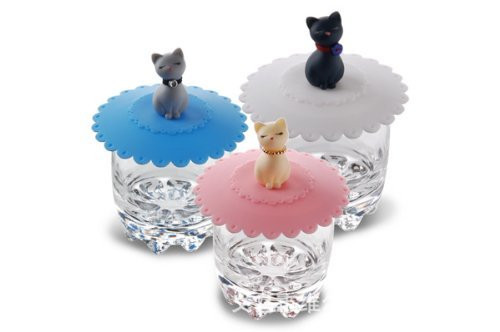 Famixyal High Quality Fashion 5 pcs Cute Kitty Pink / Blue / White Cat Watertight Silicone Cup Lid Suction Seal Cover Case Coffee Mug Lid Cap Anti-dust Leakproof Eco-friendly Novelty Kitty Style Lid (Random Color)