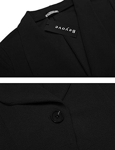 Beyove Women's 3/4 Sleeve Blazer Open Front Cardigan Jacket Work Office Blazer Black S by Beyove (Image #5)