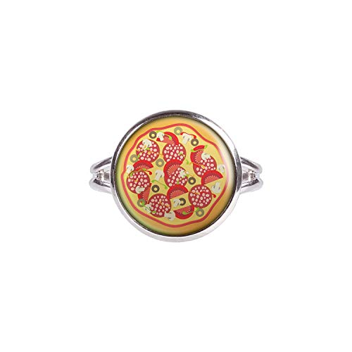 Mylery Ring with Cabochon Picture Pizza Italy Pizzeria Silver 0.55 inch