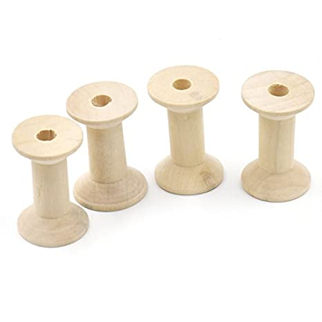 Bluemoona 20 Pcs - Natural Wood Empty Thread Spools Cylinder Craft Ends Wooden planks 4 Ribbon lace Line 47mmx31mm