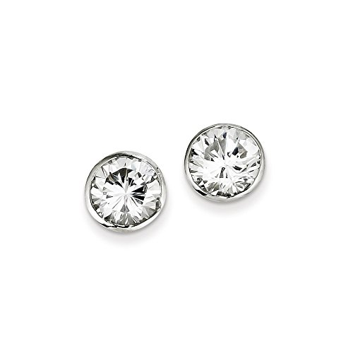 Tone Pave Enamel Ring Two (.925 Sterling Silver 9MM CZ Round Bezel Post Stud Earrings)