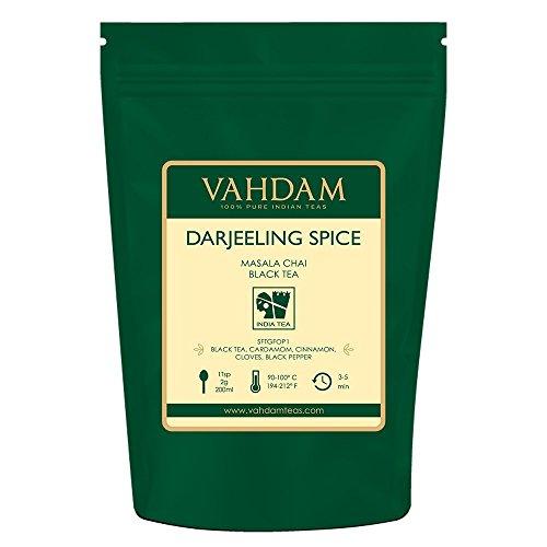 VAHDAM, Darjeeling Spiced Masala Chai Tea (50 Cups)   100% NATURAL SPICES   Darjeeling Tea, Cardamom, Cinnamon, Clove, Pepper   Spiced Chai Tea Loose Leaf   Brew As Hot, Iced Tea or Chai Latte  3.53oz