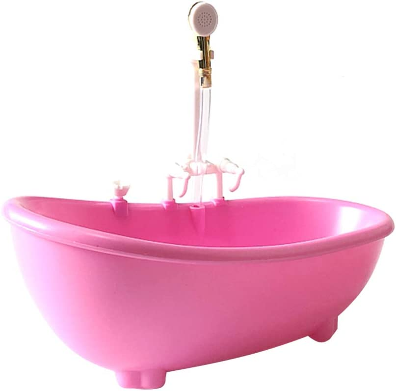 STOBOK Bañera de Muñeca Eléctrica Piscina de Rociado de Agua con Rociador Bañera de Plástico Accesorio de Casa de Muñecas Diy (Sin Batería) (Rosa)