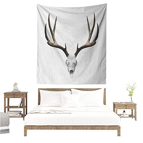 EwaskyOnline1 Antlers Living Room Tapestry A Deer Skull Skeleton Head Bone Halloween Weathered Hunter Collection Living Room Background Decorative Painting 54W x 84L INCH Warm Taupe Pale Grey -