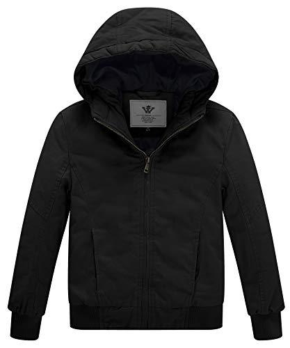 WenVen Boy's & Girl's Winter Thicken Outdoor Coat Jacket with Hoodie Black, -