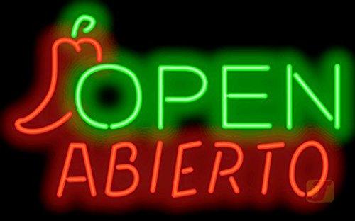 Abierto Open Neon Sign w/pepper