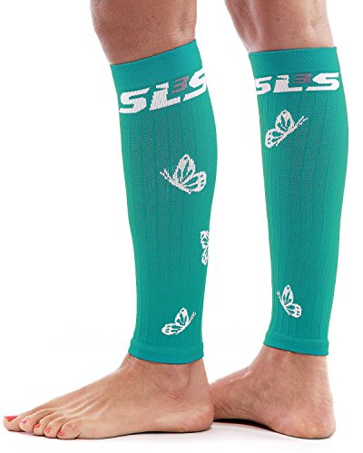 SLS3 Women's Butterfly Compression Sleeves, Teal/White, Small/Medium