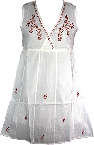 Highwaypay Boho Gypsy Embroidered Ethnic Style Tunic Tops V-Neck Sheath Indian Women39;s Dress 2812