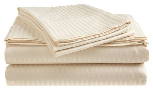 "RRLINEN Split Bed Sheet Set 7-Piece Ivory Stripe Split Queen Size 32"" Deep Pockets Double Fitted Bed Sheet Set, 100% Cotton"