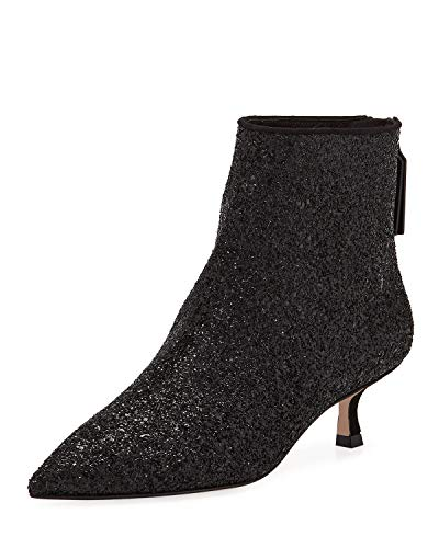 XYD Women Glitter Sequins Mid Kitten Heel Ankle Boots Pointed Toe Prom Party Dress Bootie Size 8.5 Black ()