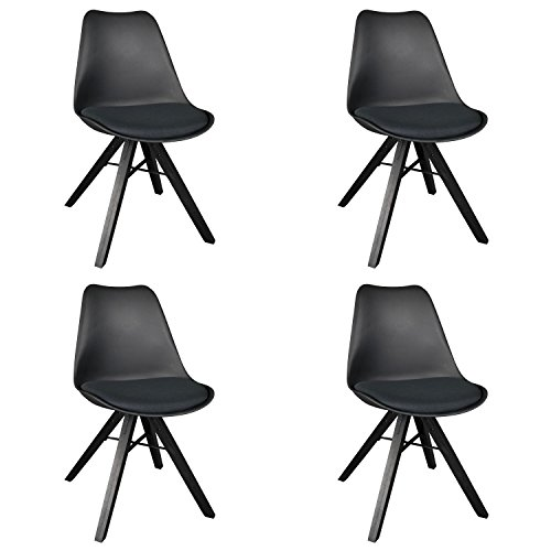 Desk Eames Unit (Polorim Modern Dining Chairs Set of 4 Upholstered Side Chairs Wood Leg for Kitchen Office (black))