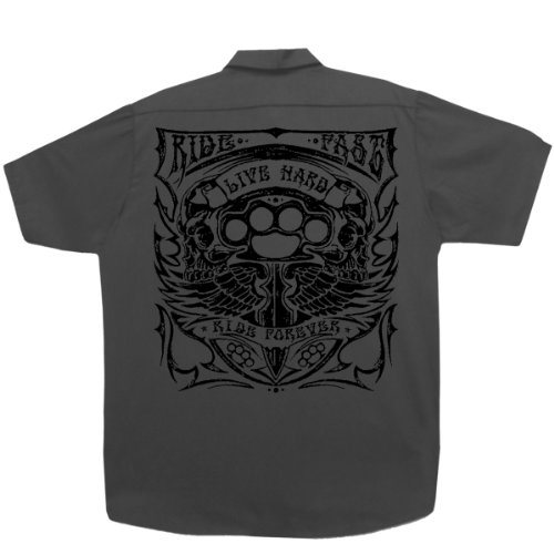 Hot Leathers Brass Knuckles Mechanic's Work Shirt (Charcoal, XX-Large)