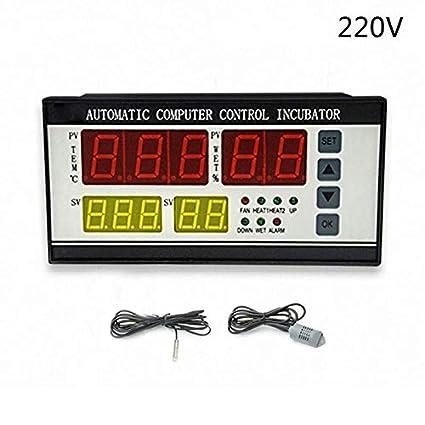 HITSAN INCORPORATION XM-18 Egg Incubator Controller Thermostat Hygrostat Full Automatic Control with Temperature Humidity Sensor Probe 110V/220V 220V