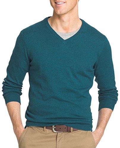 IZOD Men's Fine Gauge Solid V-neck Sweater, Deep Teal Heather, Medium