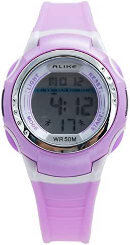 Aivtalk Child Girls Wristwatch 50M Water Resistant Led Multifunctional Quartz Digital Alarm Sports Watch For Students- Purple