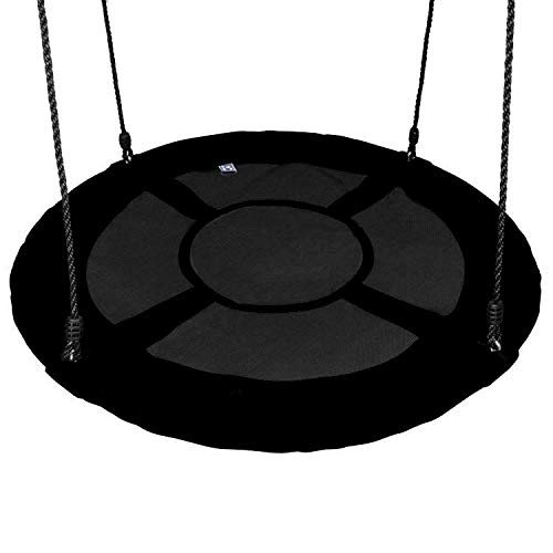 Outdoor Spinner Saucer Tree Swing - Hanging Tree Round Circular Flying Saucer in Rope Straps w/Cushion Padded Metal Frame