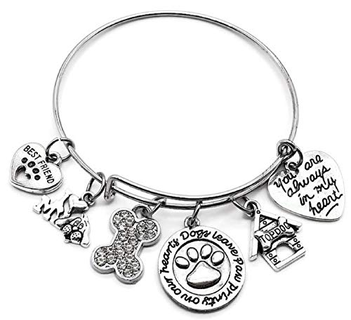 (Dog bracelet, pets bracelet, Dog Memorial bracelet, Dog charm bracelet, Best friend, Dog Paw Print bracelet, Dog bone Rhinestone charm, Gift for dog lover, Dog jewelry, Dog Memorial bangle bracelet)