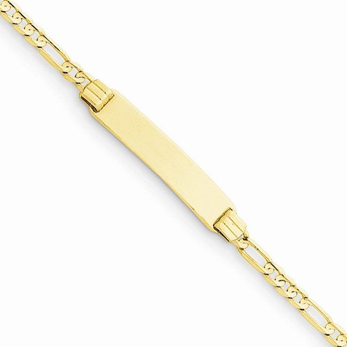 Solid 14k Yellow Gold 6'' Figaro Link Link Child Engravable ID Bracelet - with Secure Lobster Lock Clasp 6'' by Sonia Jewels