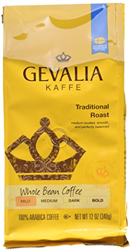 Gevalia Roast and Ground Whole Bean Coffee, Traditional Blend, 12 Ounce (Pack of 6)